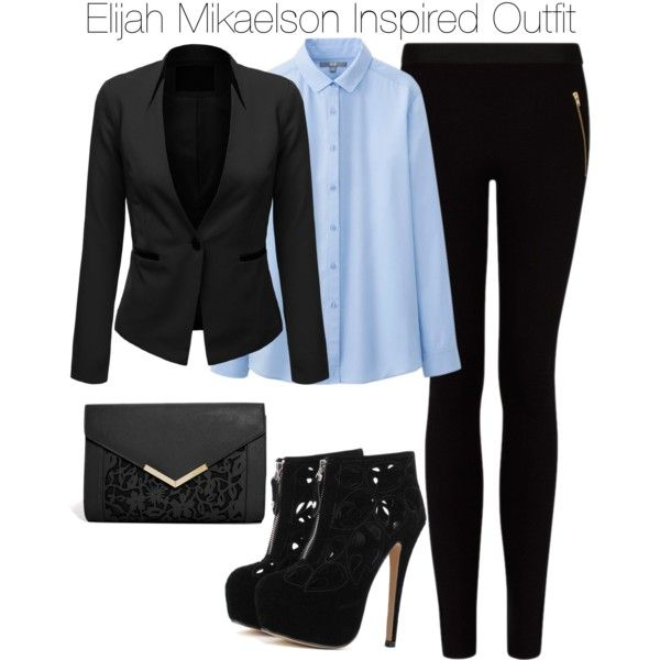 The Originals - Elijah Mikaelson Inspired Outfit by staystronng on Polyvore featuring Uniqlo, J.TOMSON, MANGO, ASOS, to, Heels, blazer, blouse and ElijahMikaelson