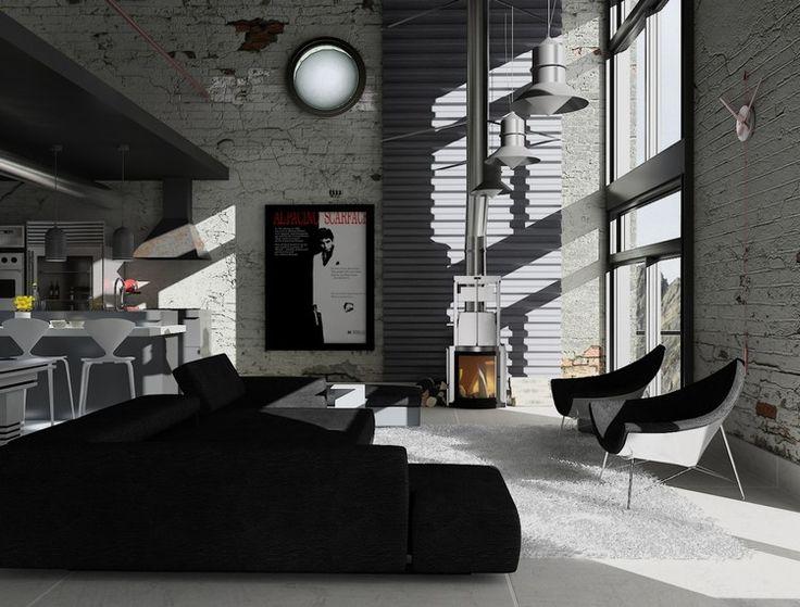 salon noir et blanc avec mur en brique et dcoration industrielle - Salon Moderne But