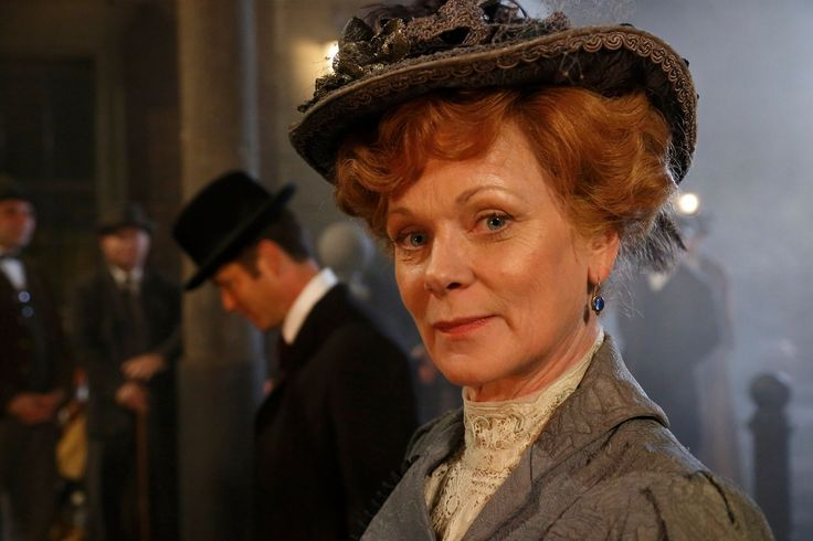 """Samantha Bond (""""Lady Suzanne Atherly"""") between scenes."""