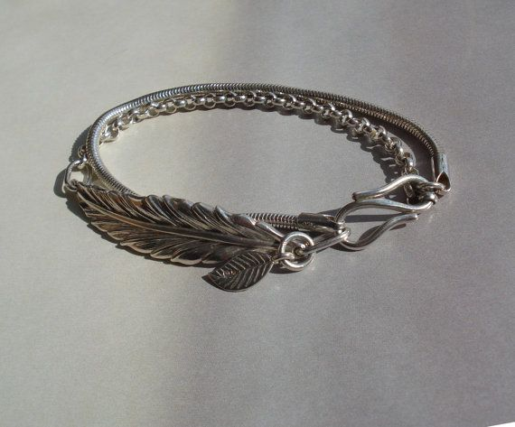 Sterling silver handmade bespoke feather & silver bracelet, by MyLittleEtsyBoutique, $200.00