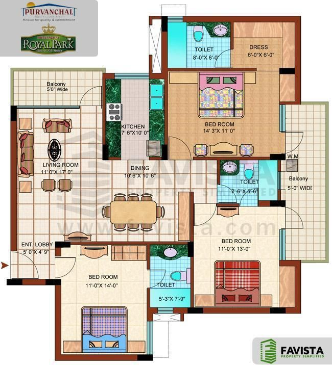 Floor Plans Of 3bhk 4bhk And 5bhk Apartments In