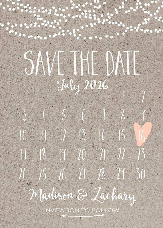 Save the Date Card Calendar Printable Simple by INVITEDbyAudriana