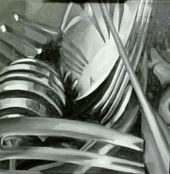 Jaime Cowdry. Painting 1 of 3 (of close up cutlery set). 18''x18'' October 2014