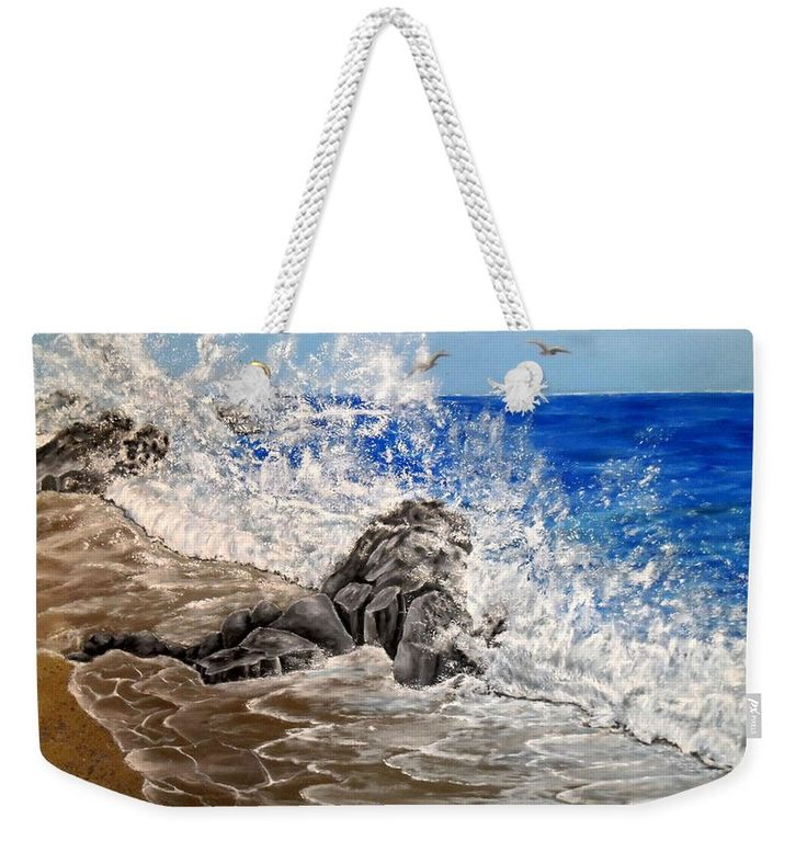 Weekender Tote Bag,  blue,grey,cool,beautiful,fancy,unique,trendy,artistic,awesome,fahionable,unusual,accessories,for,sale,design,items,products,gifts,presents,ideas,waves,coastal,scene