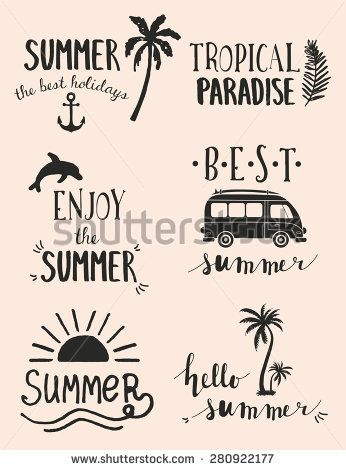 Hand Drawn Retro elements for Summer calligraphic designs