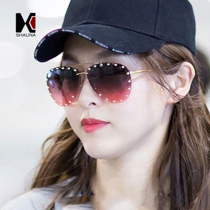 SHAUNA Spring Hinge Fashion Rivet Decoration Women Pilot Sunglasses Brand Designer Half Frame Men Red Gradient Lens Shades UV400