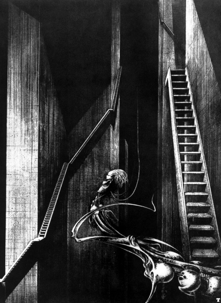 Shaft No. 7    I'm a big fan of HR Giger, to the point where I specifically went on a side trip to Switzerland just to visit the Giger Bar there.     I own a print of this piece and think it's haunting and beautiful.    www.hrgiger.com