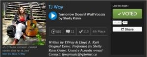 Please vote for my friend TJ Way's song, Tomorrow Doesn't Wait, Vocals by Shelly Rann.