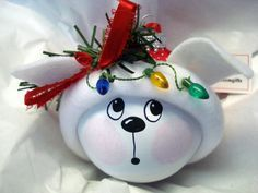 White Dog Christmas Ornament Tree Bulb Hand Painted Glass Personalized String of Lights Red White Polka Dot Hat