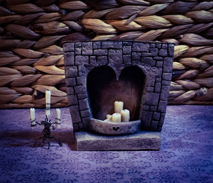 OOAK 1:12 Dolls House Heart Fireplace & Candles (Removable) By VH  | eBay