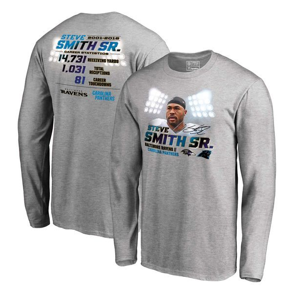 Steve Smith Sr Baltimore Ravens NFL Pro Line by Fanatics Branded Legend Long Sleeve T-Shirt - Ash - $39.99
