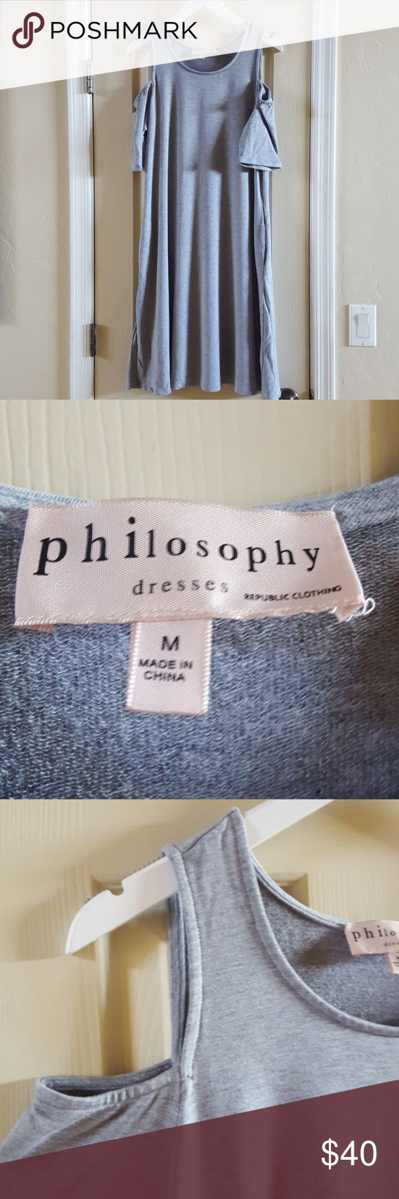 Philosophy Dress Worn Once Cold Shoulder Philosophy dress with pockets. Super comfy. 95% Rayon and 5% Spandex, machine washable. In great condition with no stains, snags, or holes. Philosophy Dresses