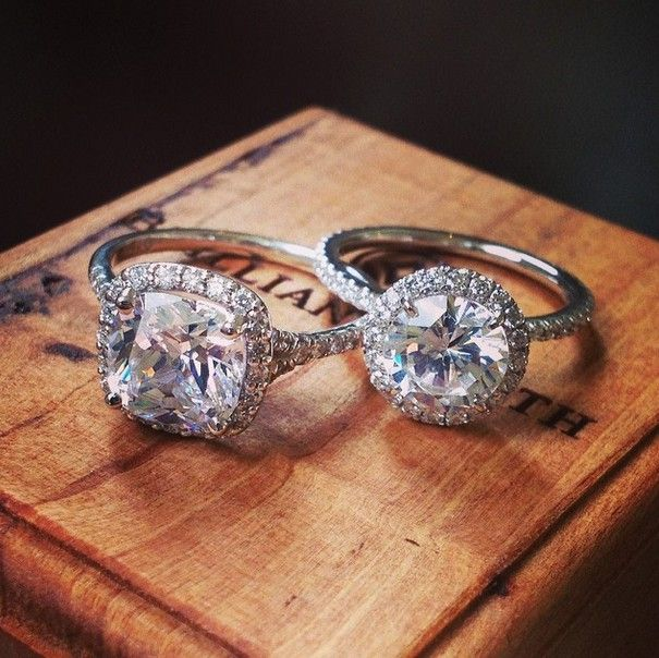 Brilliant Earth halo settings feature a center diamond completely encircled by smaller accent diamonds for a dazzling look.