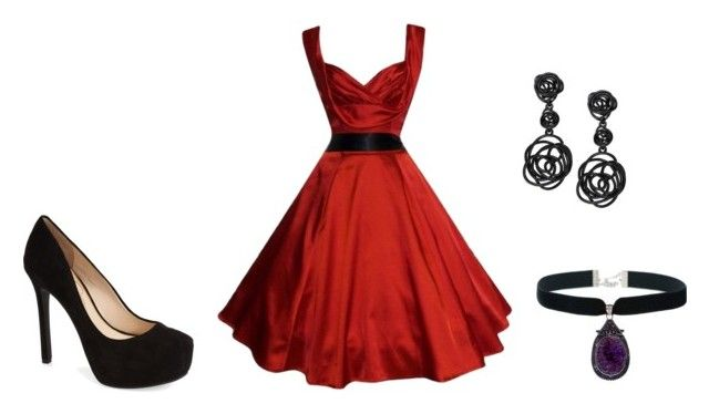 Red dress on red carpet by la-promenade on Polyvore featuring moda, Jessica Simpson, Oscar de la Renta, RedCarpet, red and Gala