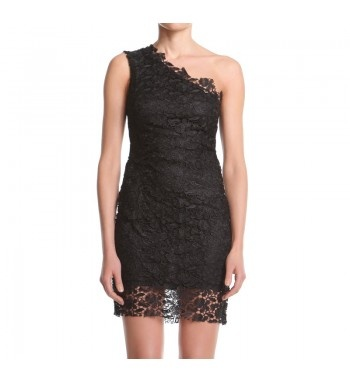 Mono shoulder sheath dress in macramé lace with raw edges. http://shop.mangano.com/it/a/16546-abito-flemmy-.html  #lace #apparel #clothing #woman #black #mangano