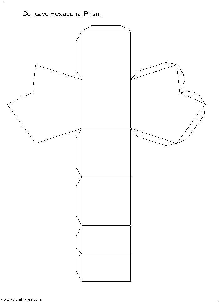 Net concave hexagonal prism