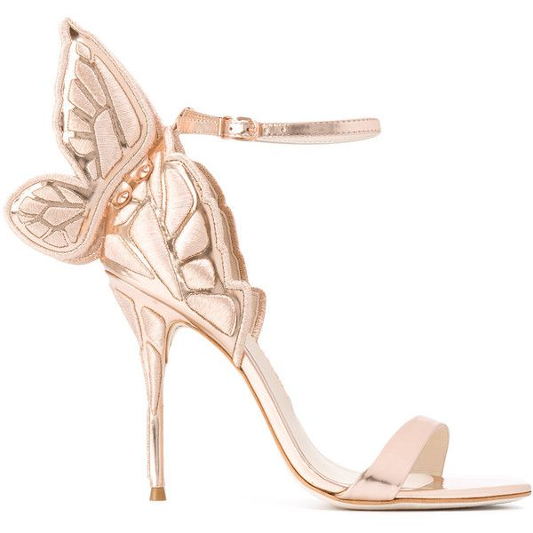 Sophia Webster butterfly heel sandals ($635) ❤ liked on Polyvore featuring shoes, sandals, purple sandals, purple shoes, pink leather sandals, pink heeled sandals and butterfly shoes