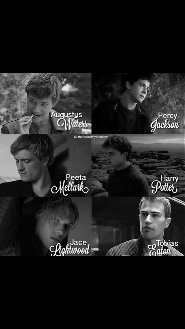 The fault in our stars, Percy Jackson, the hunger games, Harry potter, the mortal instruments, divergent