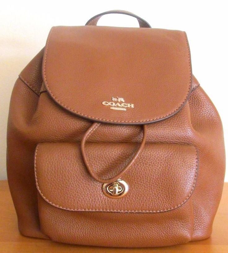 COACH 37621 ~ MINI TURNLOCK BILLIE BACKPACK ~ SADDLE Brown Leather ~ New/NWT #Coach #Backpack