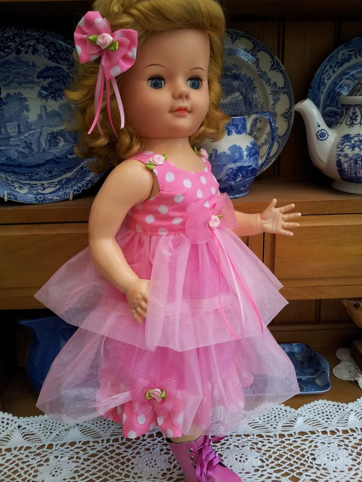 Pink Organza Double Layered dress with polka dot cotton and roses and bow trim - from my website:  http://salstuffdolls.wordpress.com/vintage-doll-clothes/