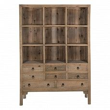 Tall Elm Bookcase with Drawers