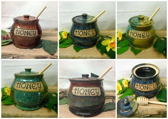 Made To Order  Custom Honey Pot  Honey Jar  with by FattyFrogPots, $30.00