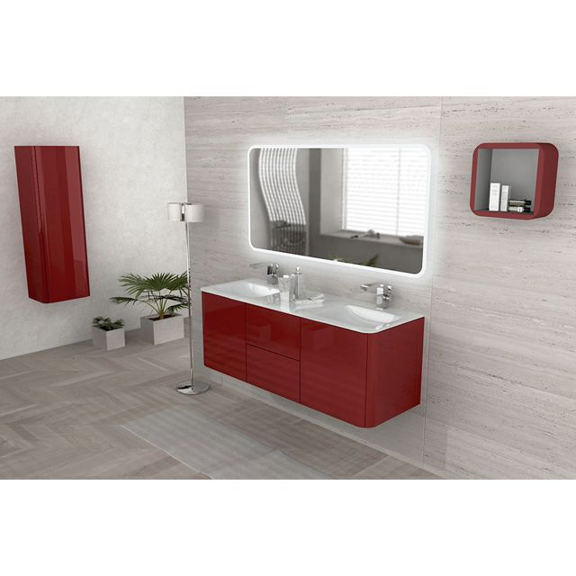 Meuble de salle de bain rouge 140 cm ceylan castorama mes th mes pinterest rouge for Decoration salle de bain rouge