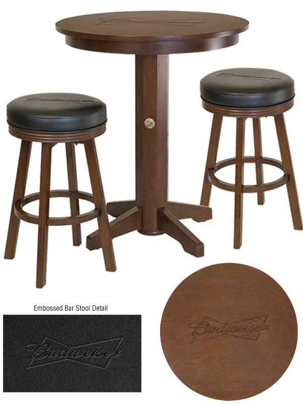 18 best olhausen gameroom furniture and accessories images on budweiser bowtie pub table barstool set brown table top is embossed with a budweiser watchthetrailerfo