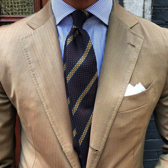 "Viola Milano - @vincent_frederiks in his Viola Milano ""Brown/Gold"" Stripe grenadine tie… Find it online now at www.violamilano.com"