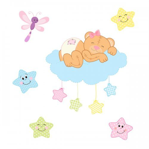 Teddy Bear Mural Decal Wall Art Cloud Star Girl Nursery Stickers