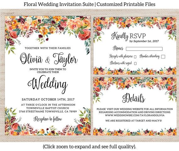 A gorgeous rustic-style floral wedding invitation suite perfect for any fall wedding! Choose from any combination of items in this suite to meet your needs. DIGITAL FILES: This invitation set will be delivered to you via e-mail as high quality printable PDF and JPG files. No physical product will be shipped. You can print at home or through a professional printing company. This Fall Wedding Invitation Suite Can Include: -Invitation design (5x7 inch) -RSVP Insert Card design (3.5 x 5 inch)…