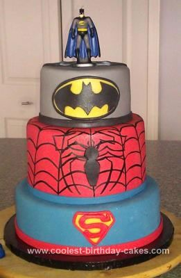 Homemade Superhero Birthday Cake: A friend asked me to make a Superhero birthday cake for her son's 3rd birthday, with his favorite heroes. She showed me a picture of a cake she saw, but