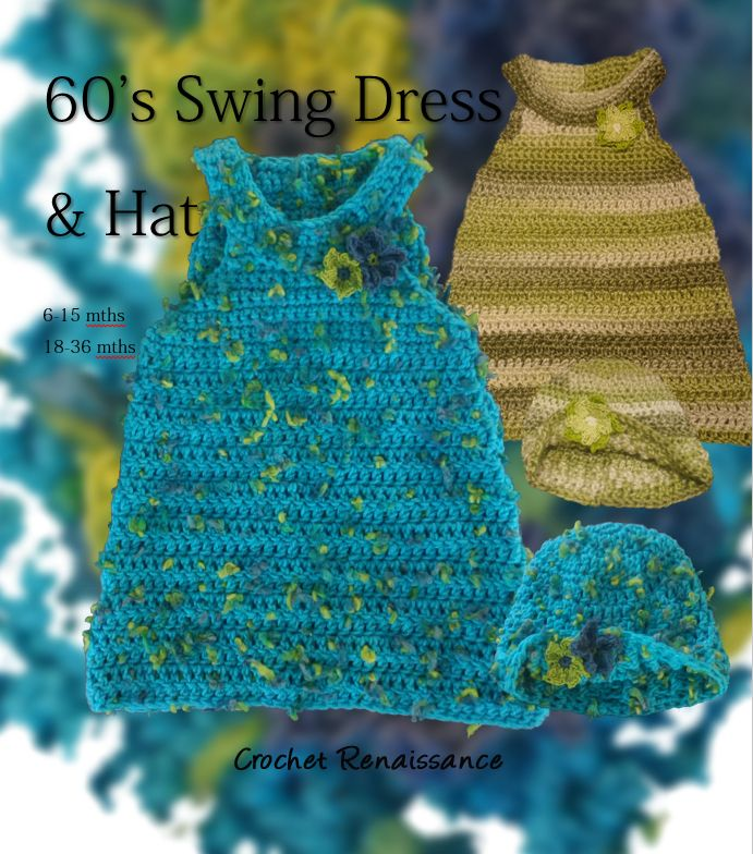 Girl's 60's inspired Dress and matching Hat.  Classic look for Spring, or over T's and leggings for Fall and Winter alike.   Crochet Pattern  www.etsy.com/shop/crochetrenaissance and www.ravelry.com/people/crochet41to5s