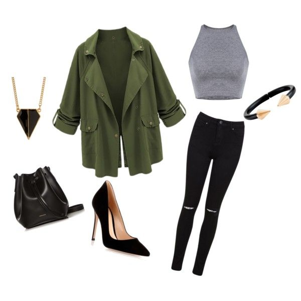 Simple outfit for cooler days by sostudd on Polyvore featuring Miss Selfridge, Gianvito Rossi, Rachael Ruddick, Vita Fede and Rebecca Minkoff