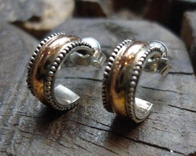 Zilveren Rose Gold hoops, zigeuner oorbellen zilver en gouden oorbellen van de Post, tweekleurig oorbellen, kleine hoepels oorbellen, Half hoepels oorbellen EH570