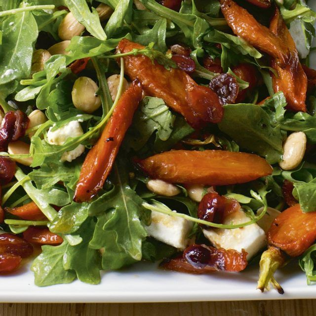 The Maple-Roasted Carrot Salad in Cooking for Jeffrey is truly one of my favorite salads! I love the sweet roasted carrots and peppery arugula salad with crunchy Marcona almonds, creamy goat cheese, and tart dried cranberries. I could eat this for lunch every day but it's also a perfect side dish with roast chicken or fish. Trust me, everyone will love it! Maple-Roasted Carrot Salad - Barefoot Contessa