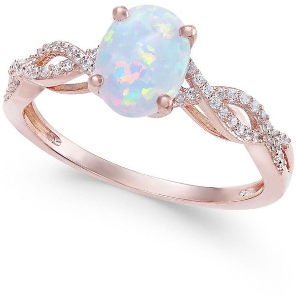 Opal (3/4 ct. t.w.) & Diamond (1/8 ct. t.w.) Ring in 14k Rose Gold ($280) ❤ liked on Polyvore featuring jewelry, rings, opal, diamond jewellery, oval cut diamond ring, sparkly diamond ring, diamond rings and opal diamond ring