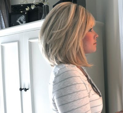 Long layered bob with highlights - side view
