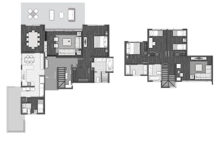 Planta Casa Mediterránea 221 m2, Aguapiedra, Inmobiliaria Manquehue