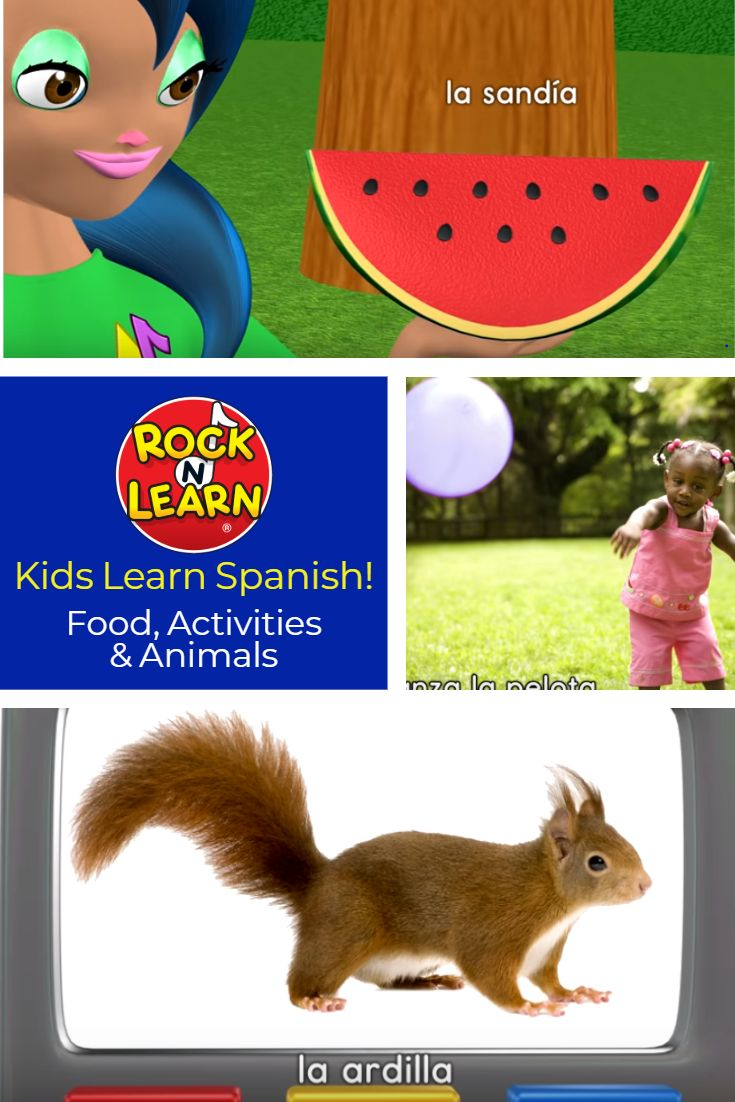 In This Exciting Video Kids Learn Spanish Words For Food Animals And Outdoor Activitie Learning Spanish For Kids Animal Activities For Kids Learning Spanish