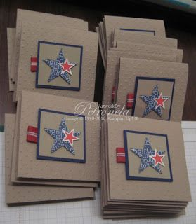 Stampin' Up! ... handmade invitation cards from Keep Stamping: Baby ...  clean and simple ... red, navy and white on kraft ... stamped and die cut stars ... like them!