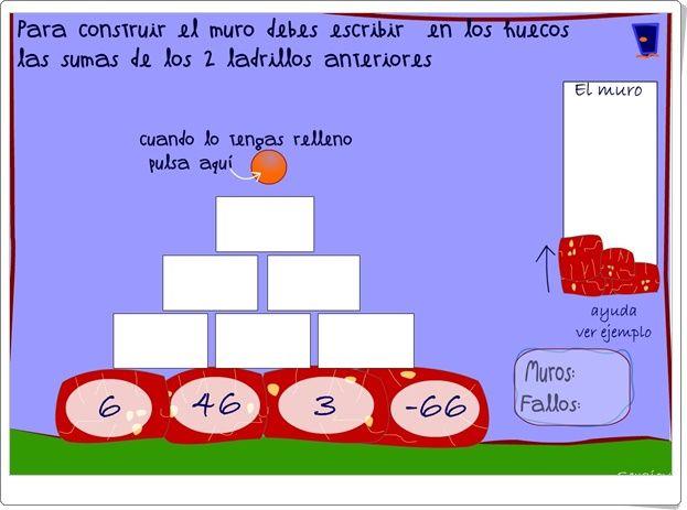 """""""Muro de sumas de números enteros 1"""" (Juego de Matemáticas)"""