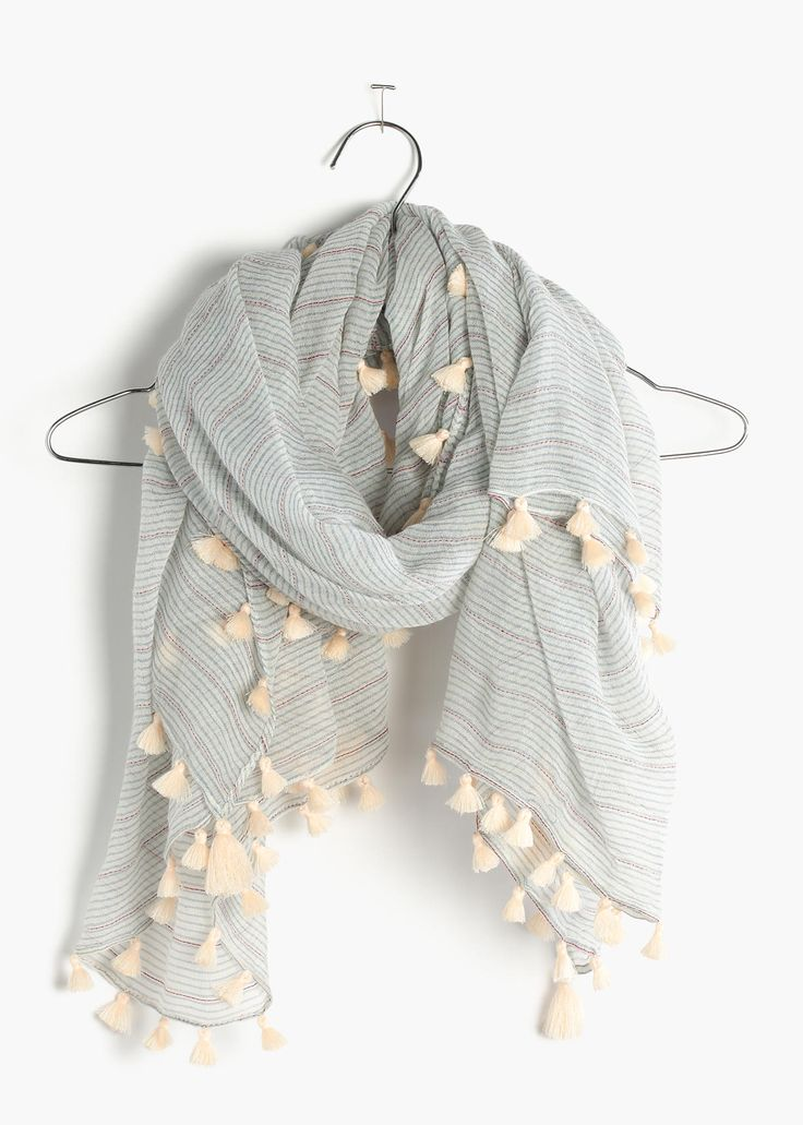 madewell striped + tasseled square scarf