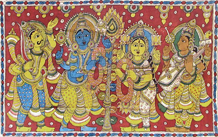 Marriage of Vishnu and Lakshmi (Kalamkari Paintings on Cotton - Unframed))