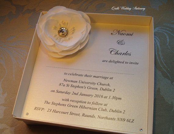 Boxed Wedding Invitation. Rose Wedding by QuillsWeddingFavours