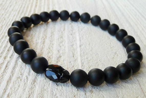 Mens Bracelet Black Onyx, SCARAB, Gift for Men,Bracelet for Man,Mens Beaded, Crystal SWAROVSKI ELEMENTS, Wrist Mala, Energy Bracelet,