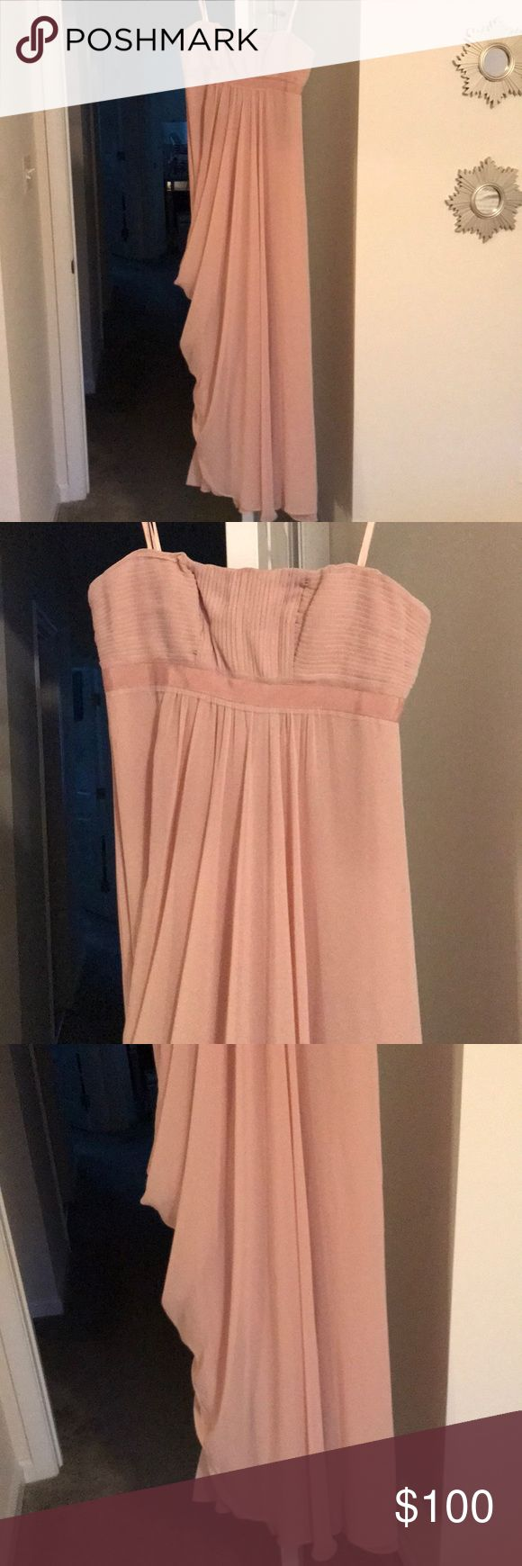 BCBG gown Brand new with tags. Color is bare pink. Chiffon gown. Strapless. Minor snag on bustline. Zips ip in the back. BCBGMaxAzria Dresses