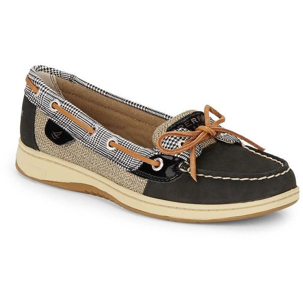 Sperry Angelfish Leather Boat Shoes ($50) ❤ liked on Polyvore featuring shoes, loafers, black, rubber sole shoes, black wedge shoes, tying boat shoes, black shoes and tie shoes