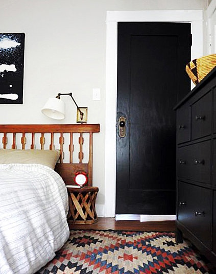 Black Door With White Trim Brick House // Morgan Satterfiels