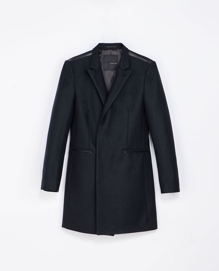 Zara CONTRASTING FAUX LEATHER OVERCOAT  Ref. 6700/300  269.00 CAD               OUTER SHELL  80% WOOL, 20% POLYAMIDE  LINING  BODY LINING: 51% POLYESTER, 49% VISCOSE  SLEEVE LINING: 65% VISCOSE, 35% POLYESTER
